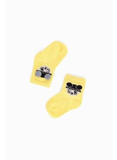 BG Baby Kız Bebek Siyah-Sarı-Beyaz Çorap Siyah